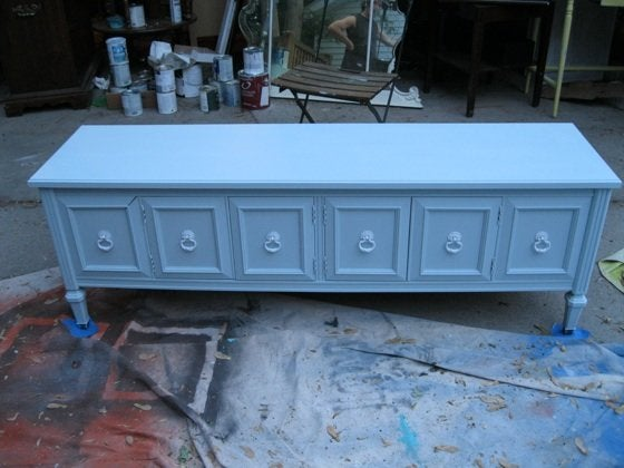 How to Paint Furniture - Blue Console