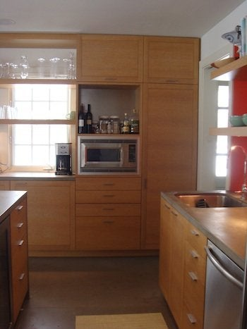Riftsawn oak cabinets with rubbed finish
