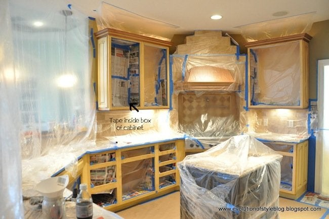 How To Paint Cabinets Taping Off