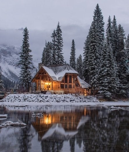 Frozen lake cabin