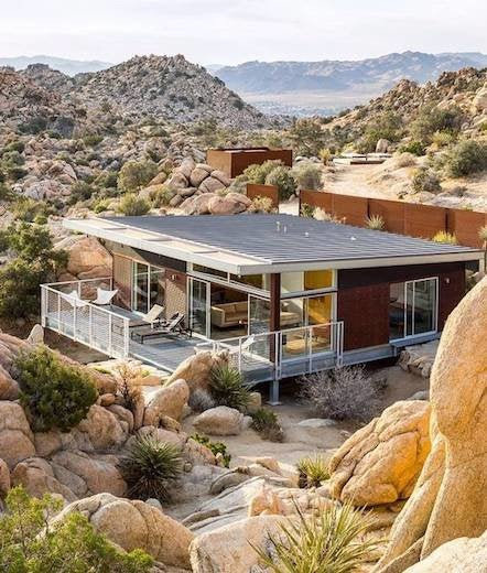 Modern house amongst rocks
