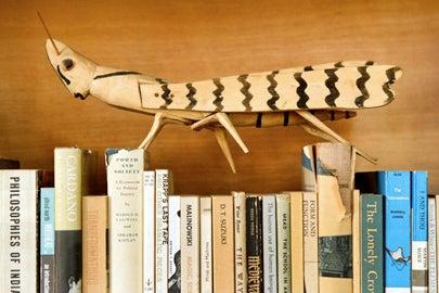 Eames Living Room LACMA Exhibition with Folk Art Grasshopper