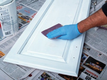 How to Paint Kitchen Cabinets - Sanding After Priming