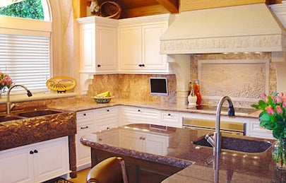 Cold Spring Granite Carved Limestone Range Hood