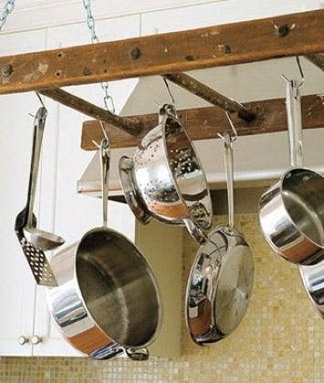 Creative Kitchen Storage Ideas - Ladder Pot Rack