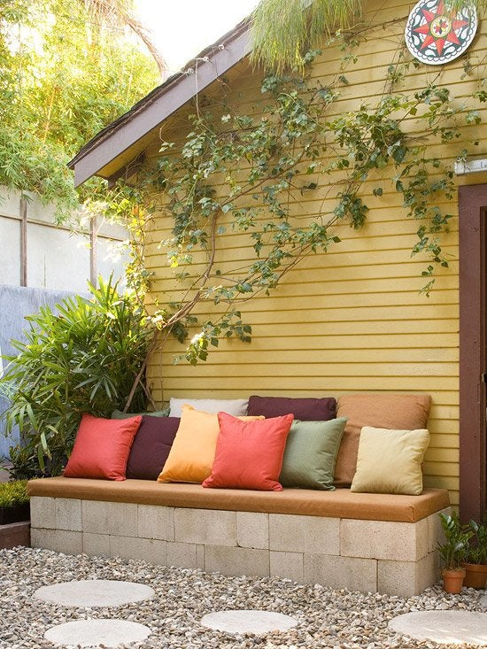 DIY with Cinder Blocks - Outdoor Bench