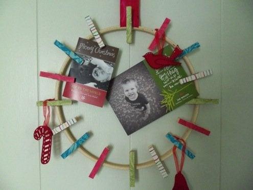Christmas Card Display - Clothespin Wreath