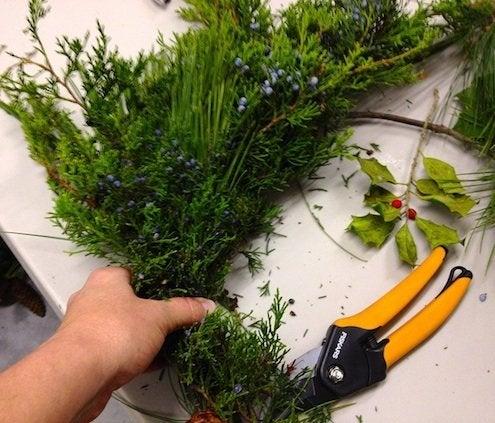 How to Make a Wreath - Adding Greenery