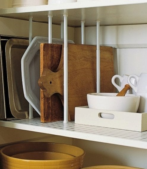 DIY Kitchen Storage - Tension rod shelf dividers