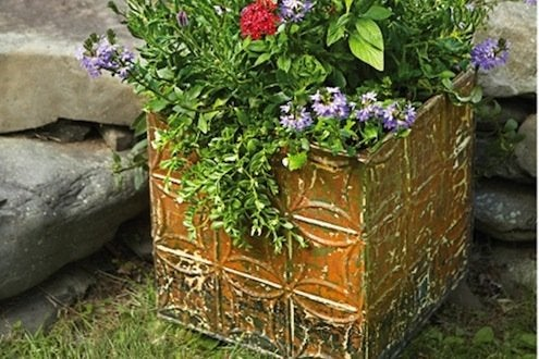 Tin Ceiling Tile DIY - Planter