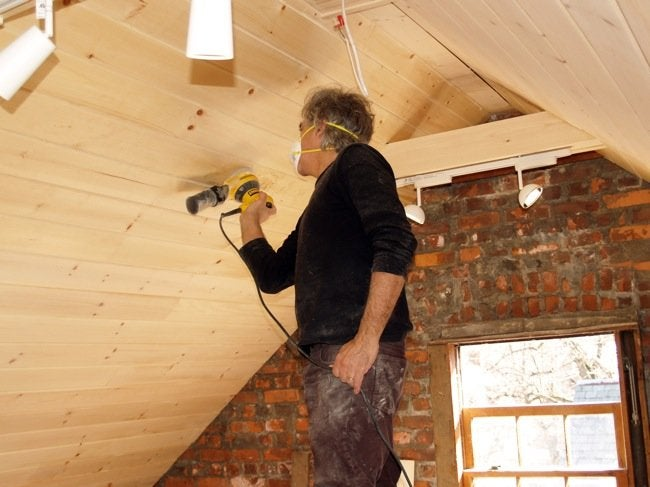 Installing a Wood Ceiling - Sanding