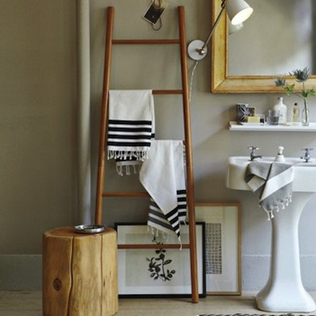 DIY Bathroom Ideas - Ladder Towel Rack