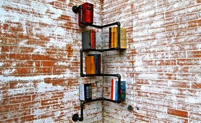 DIY Bookcases - Pipe Shelving