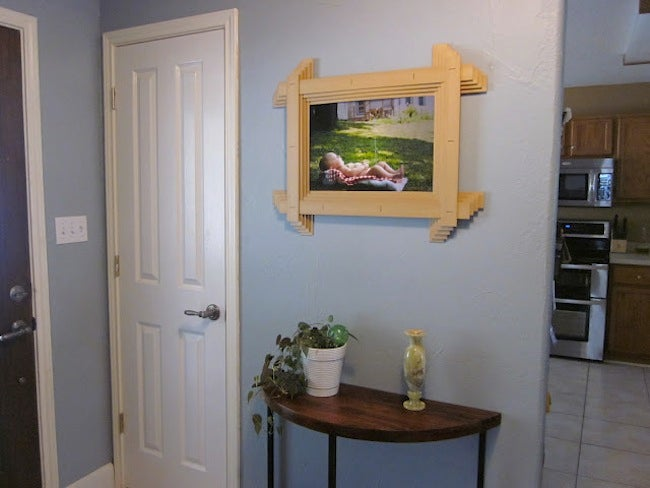 Repurpose Window Blinds - Picture Frame