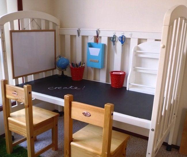 Repurposed Crib - Craft Center