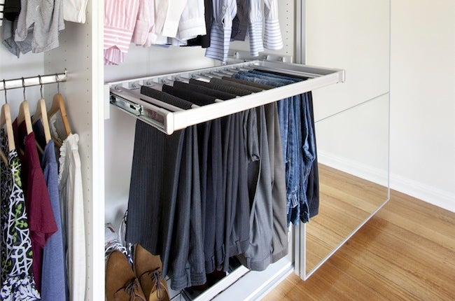 Diy Closet Organizer Sliding Pants Rack
