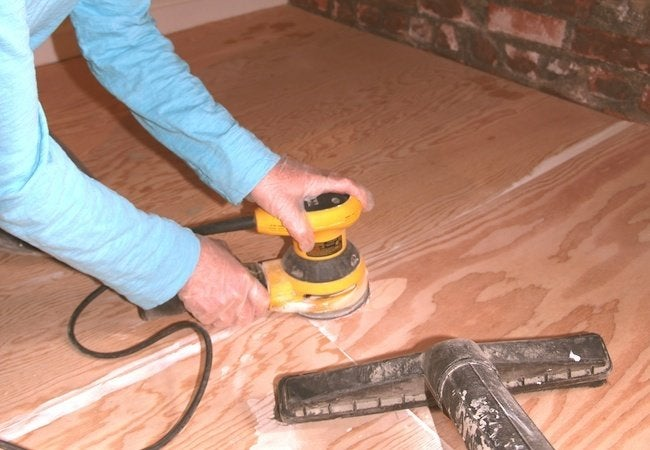 Painted Plywood Floors - Sanding