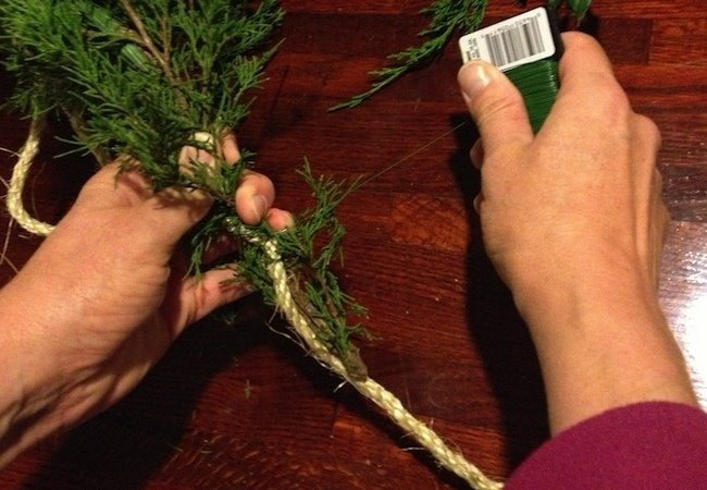 How to Make Fresh Garland - Add Greenery