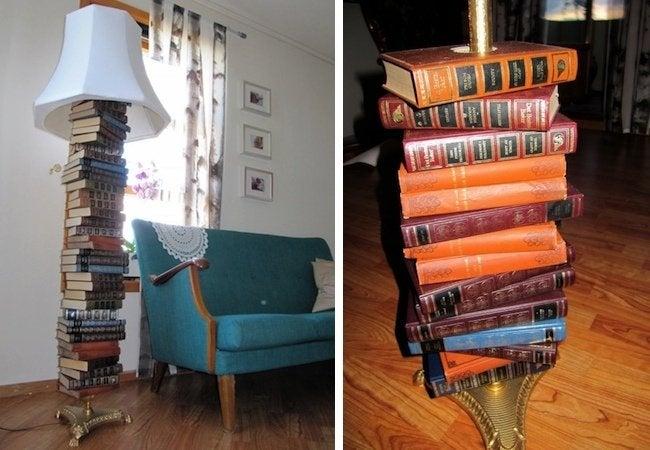 DIY Floor Lamp - Repurposed Books