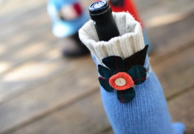 Recycled Sweater - Wine Bottle Cozy