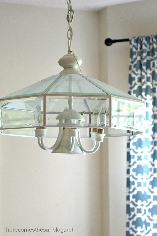 Blue Mason Jar Chandelier - Before