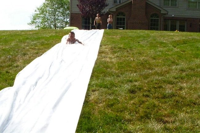 DIY Slip n Slide - Playing