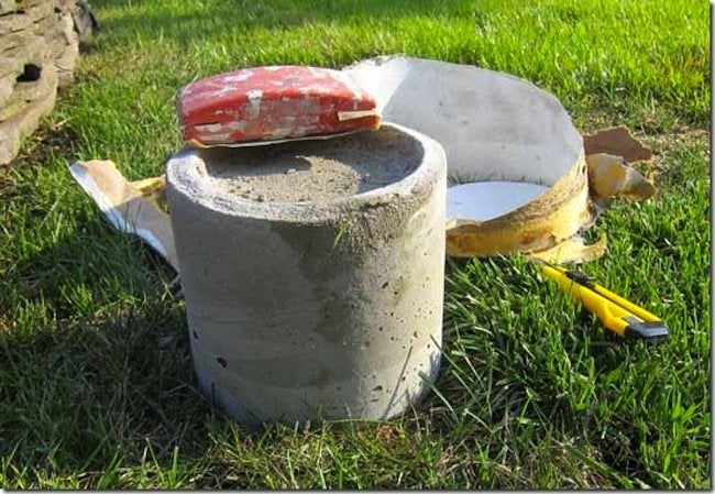 Sanding DIY Concrete Candle Holder