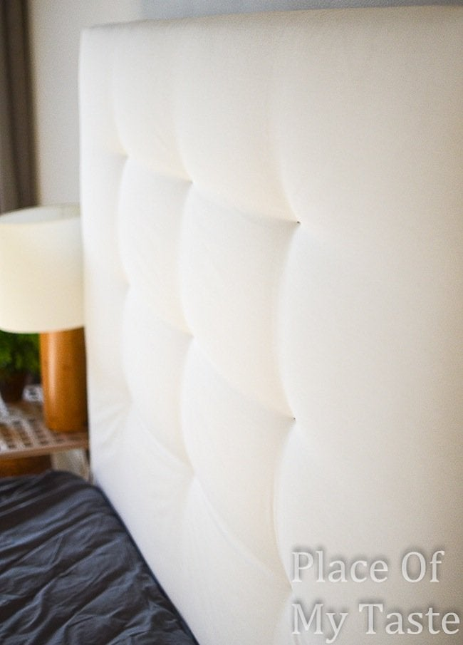 IKEA DIY headboard with stapled buttons