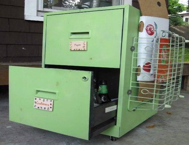 DIY Recycling Bins - Filing Cabinet
