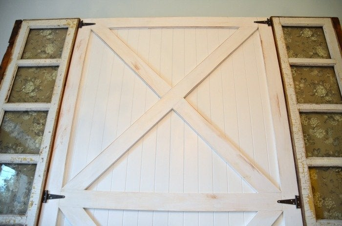 DIY Barn Door Headboard Painted Sanded