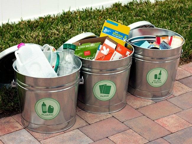 DIY Recyling Bins - Labeled Buckets
