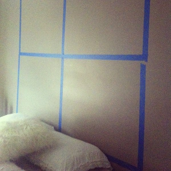 Tape off wall for diy window headboard