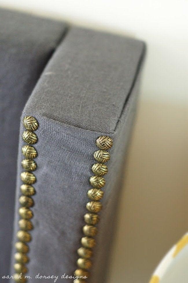 DIY Wingback Headboard Fabric Fold