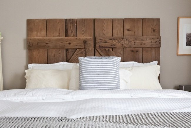 diy reclaimed barn door headboard bob vila. Black Bedroom Furniture Sets. Home Design Ideas