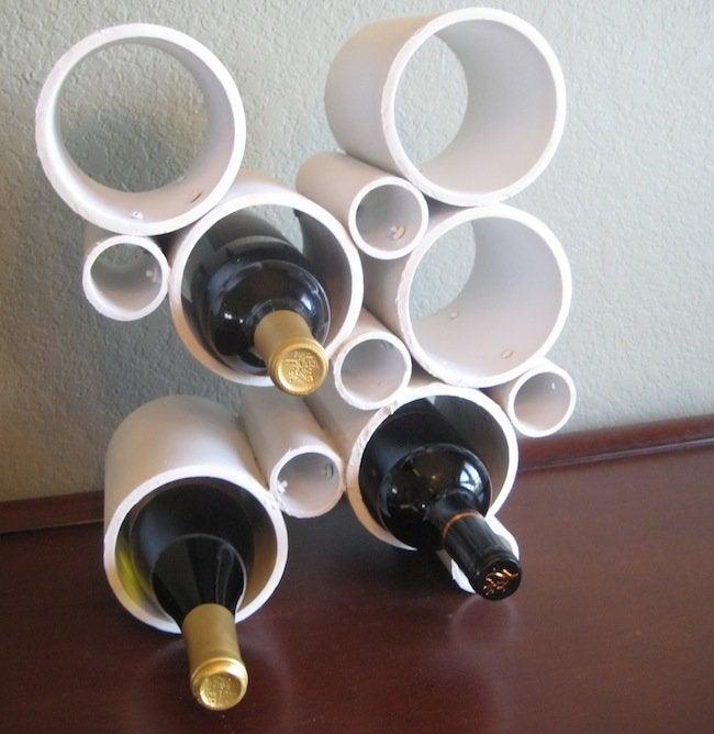 Finished DIY PVC pipe wine rack