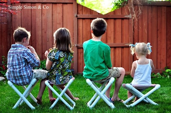 Kids Using DIY PVC Pipe Chairs