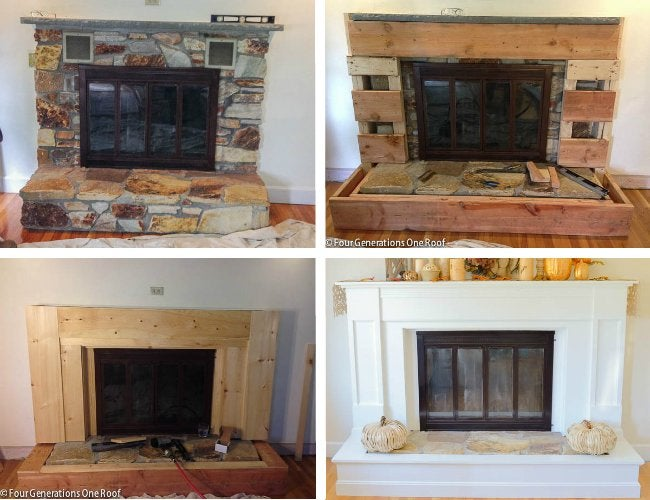 Fireplace Makeover - Stages