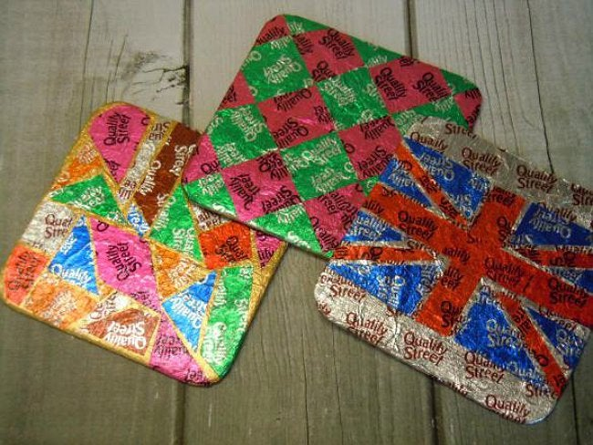 Reusing Candy Wrappers - Coasters