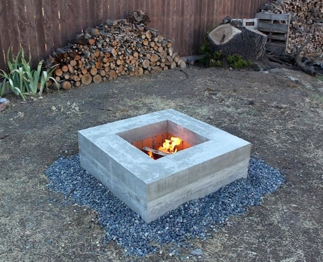 Homemade Modern Concrete Fire Pit