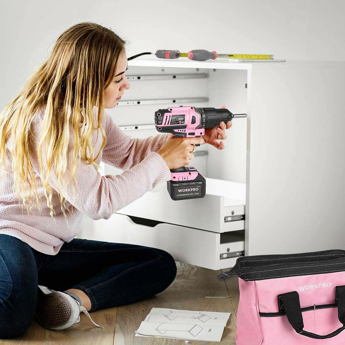 Best Bubblegum Pink Cordless Drill: WORKPRO 20V Cordless Drill