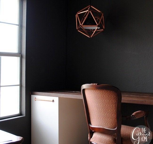 DIY Copper Pipe Icosahedron Light - desk