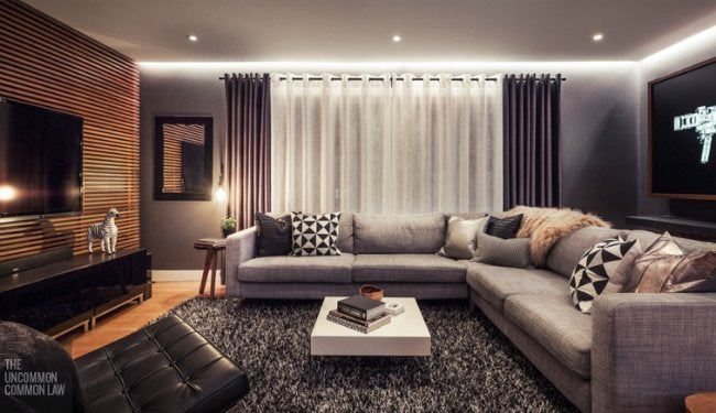 Living Room Makeover - Window Treatments and Sectional