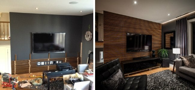 Living Room Makeover - Slat Wall