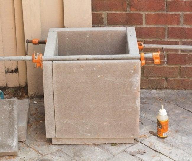 DIY Concrete Planters - gorilla glue