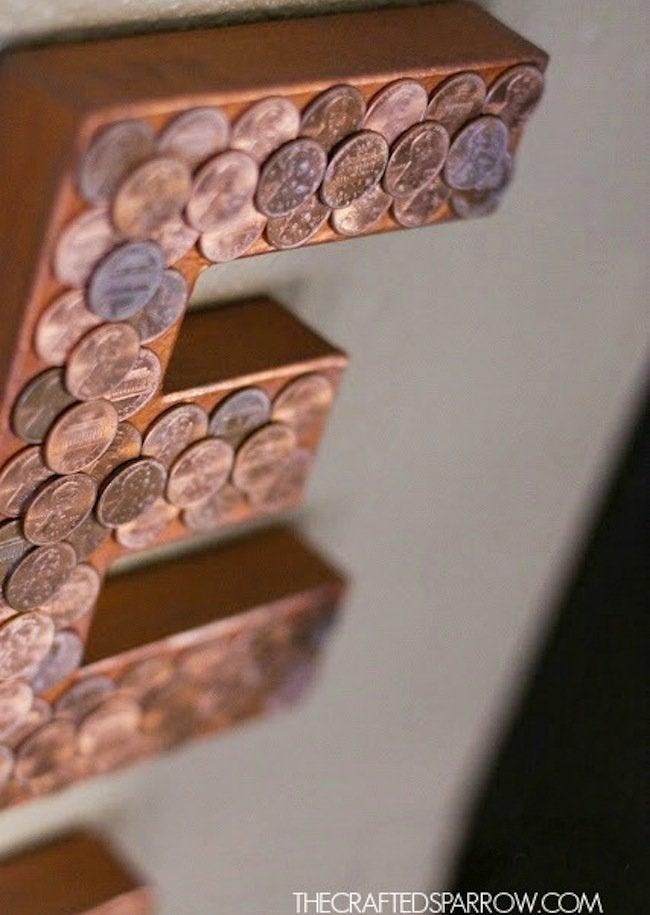 DIY Penny Letter - glue