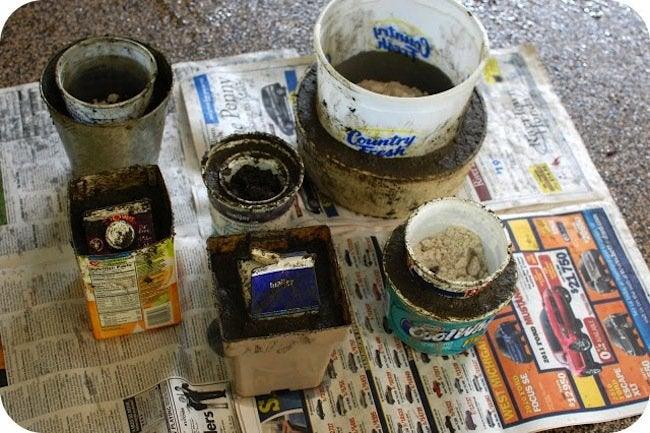 DIY hypertufa planter - making