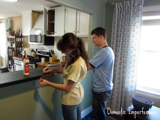 DIY penny countertop - glue