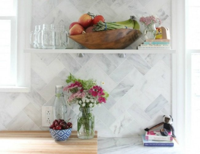 Kitchen Before and After - Herringbone Backsplash