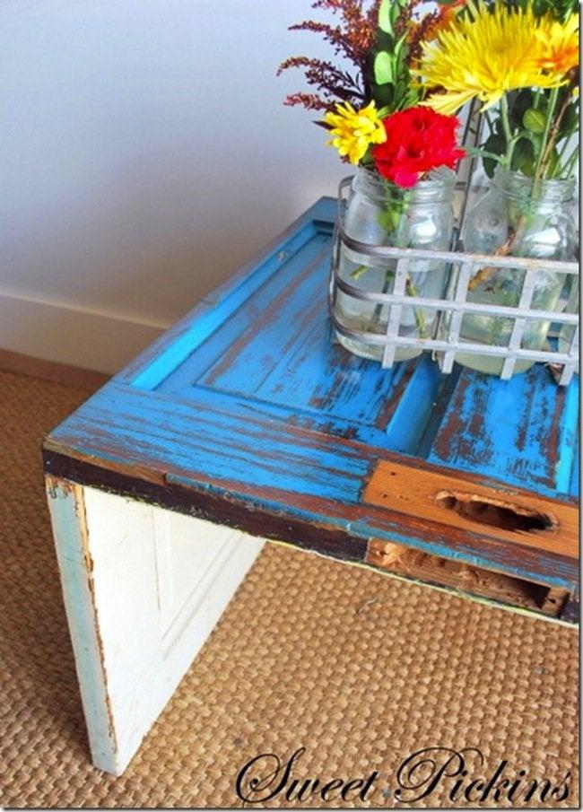 DIY Door Coffee Table - close