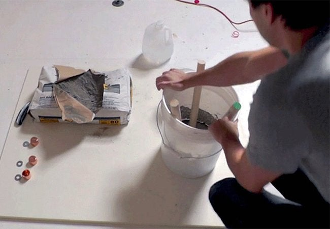 How to Make a Concrete Stool - Set Dowels